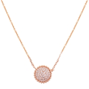 August Woods Rose Gold Dimple Crystal Circle Necklace