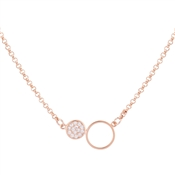 August Woods Rose Gold Crystal Circle Hoop Necklace