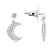 August Woods Silver Crescent Moon Drop Earrings
