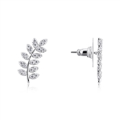 August Woods Silver Laurel Wreath Crystal Earrings