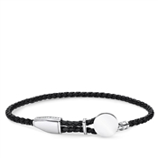 Thomas Sabo Black Leather Engravable Disc Bracelet