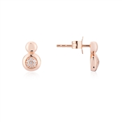 Argento Rose Gold Circle Pebble Earrings
