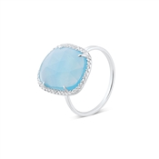 Argento Silver + Blue Radiance Rectangle Ring