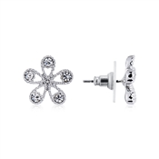 August Woods Silver Crystal Flower Stud Earrings