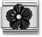 Nomination Black + Rose Gold Flower Charm