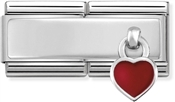 Nomination Silver Double Engravable Red Heart Charm