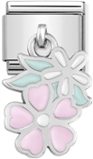Nomination Pink + White Hanging Flower Charm