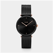 CLUSE Triomphe Black Mesh & Rose Gold Watch