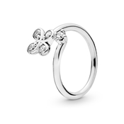 Pandora Silver Twist Four-Petal Flower Ring