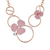 Dirty Ruby Pink Floret Hoop Necklace
