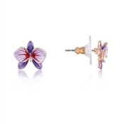 August Woods Purple Flower Rose Gold Earrings