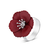Dirty Ruby Mini Red Floret Adjustable Ring