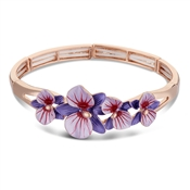 August Woods Purple Flower Rose Gold Bangle