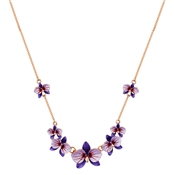 August Woods Purple Flower Rose Gold Necklace