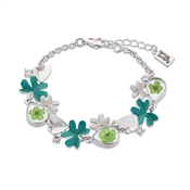 August Woods Silver + Green Flower Bracelet