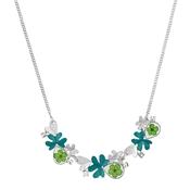 August Woods Silver + Green Flower Necklace