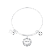 Karma Silver Mum Flower Bangle