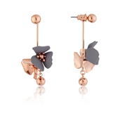 Dirty Ruby Rose Gold + Grey floret Earrings