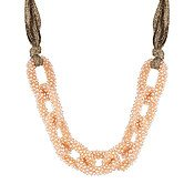 August Woods Beaded Champagne Fabric Necklace