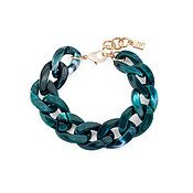 August Woods Green Acrylic Chain Bracelet