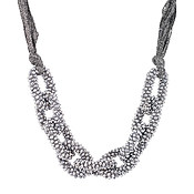 August Woods Beaded Silver Fabric Necklace