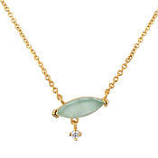 Argento Gold + Green Glass Oval Necklace