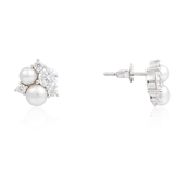 Argento Silver Pearl + Crystal Earrings