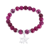 Karma Purple + Silver Stars Stretch Bracelet