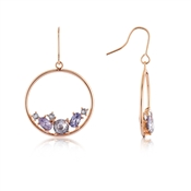 August Woods Rose Gold + Lavender Circle Earrings