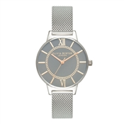 Olivia Burton Wonderland  Grey Dial + Silver Mesh Watch