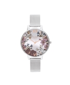 Olivia Burton Floral Bloom Silver Mesh Watch
