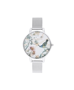 Olivia Burton Painterly Prints Silver Mesh Watch