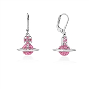 Vivienne Westwood Lena Drop Silver + Pink Earrings