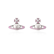 Vivienne Westwood Silver + Pink Iris Bas Relief Earrings