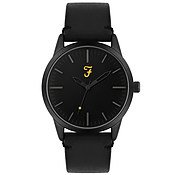 Farah Classic Black Leather Watch