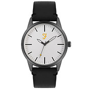 Farah Classic Grey + Black Leather Watch