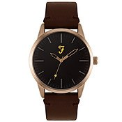 Farah Classic Rose Gold + Brown Leather Watch