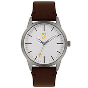 Farah Classic Silver + Brown Leather Watch