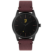 Farah Classic Black + Burgundy Suedette Watch