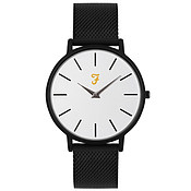 Farah Slim Jim Black Mesh + White Dial Watch