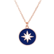 Dirty Ruby Blue Rose Gold North Star Necklace