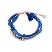 Dirty Ruby Blue + Rose Gold Layered Cord Bracelet
