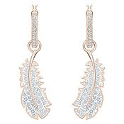 Naughty Rose Gold Feather Hoop Earrings by Swarovski