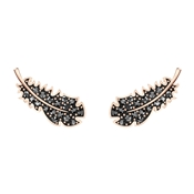 Swarovski Naughty Black + Rose Gold Feather Earrings