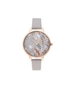 Olivia Burton Abstract Floral Mother of Pearl Grey Lilac + Pale Rose Gold Watch