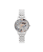 Olivia Burton Abstract Floral Mother of Pearl Silver Bracelet Watch