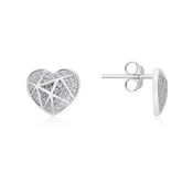 Silver Crystal Line Heart Earrings by Argento