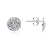 Argento Silver Honeycomb Bee Coin Earrings