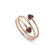 Nomination Sweetrock Rose Gold Red Heart Adjustable  Double Ring