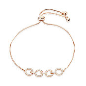 August Woods Rose Gold Crystal Link Circle Pull Bracelet